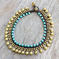 Brass and calcite anklet, 'Blue Bells' - Brass Anklet with Blue Calcite and Jingling Bells