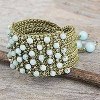 Amazonite wristband bracelet, 'Life in Pai' - Hand Crocheted Green Wristband with Amazonite and Silver