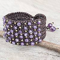 Amethyst wristband bracelet, 'Life in Pai' - Hand Crocheted Brown Wristband with Amethyst and Brass