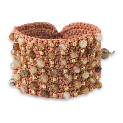 Thai Hand Crocheted Brown Bracelet with Agate and Brass