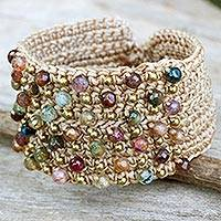 Agate wristband bracelet, 'Life in Pai' - Hand Crocheted Wristband Bracelet with Multi Color Agates