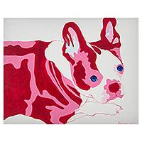 'Mumu' - Original Pink and Red French Bulldog Painting