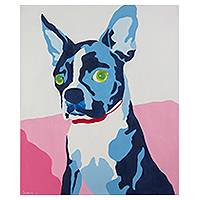 'Blue' - Original Signed Acrylic on Canvas Dog Painting from Thailand