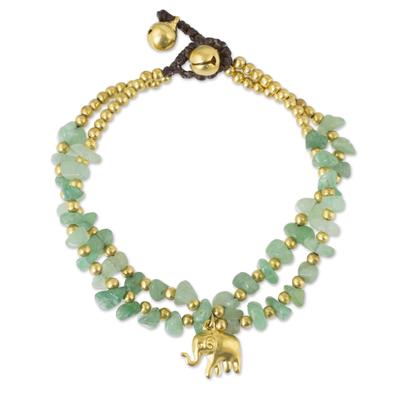 Brass and quartz beaded bracelet, 'Green Elephant' - Green Quartz Beaded Elephant Charm Bracelet from Thailand