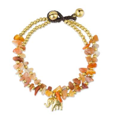 Carnelian and Brass Beaded Elephant Bracelet from Thailand