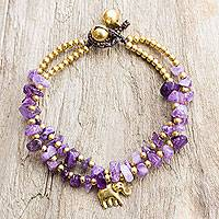 Brass and quartz beaded bracelet, 'Violet Elephant' - Thai Purple Quartz Beaded Elephant Charm Bracelet