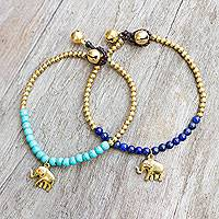 Lapis lazuli beaded bracelets, 'Stylish Elephants' (pair)