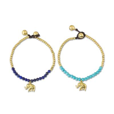 Lapis lazuli beaded bracelets, 'Stylish Elephants' (pair) - Brass Beaded Bracelets with Lapis Lazuli and Calcite (Pair)