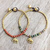 Jasper beaded bracelets, 'Stylish Elephants' (pair) - Jasper and Elephant Charm on Pair of Brass Beaded Bracelets