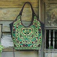 Leather accent embroidered shoulder bag, 'Jade Pheasants'