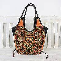 Leather accent embroidered shoulder bag, 'Sunny Pheasants'