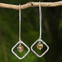 Rutilated quartz dangle earrings, 'Open Diamonds' - Rutilated Quartz on Sterling Silver Earrings from Thailand