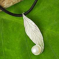 Cultured pearl pendant necklace, 'Splendid Beauty' - White Pearl on Sterling Silver and Silk Necklace