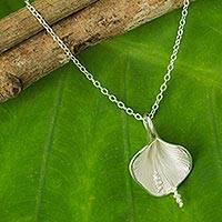 Sterling silver flower necklace, 'Enchanted Lily'
