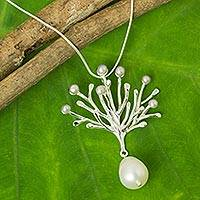 Cultured pearl pendant necklace, 'Coral Treasure' - Sterling Silver Necklace with Grey and White Pearls