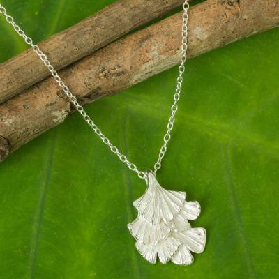 Sterling silver leaf necklace, 'Ginkgo Inspired' - Sterling Silver Leaf Shaped Pendant Necklace from Thailand
