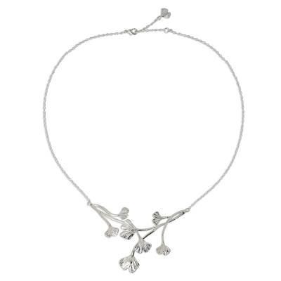 Sterling silver pendant necklace, 'Pretty Ginkgo' - Leaf Pendant on Sterling Silver Necklace from Thailand