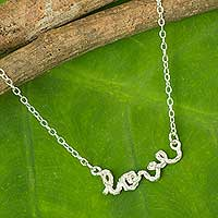 Sterling silver pendant necklace, 'Written with Love' - Sterling Silver Love Pendant Necklace Romantic Jewelry
