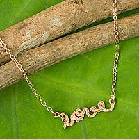 Rose gold plated necklace, 'Written with Love' - Pink Gold Plated Sterling Silver Love Pendant Necklace