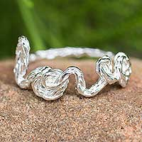 Sterling silver band ring, 'Written with Love' - Thai Sterling Silver Love Band Ring Romantic Jewelry