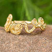 Gold plated band ring, 'Written with Love' - Gold Plated Sterling Silver Love Band Ring Romantic Jewelry