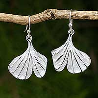 Sterling silver flower earrings, 'Pretty Ginkgo' - Leaf Shaped Sterling Silver Hook Earrings from Thailand