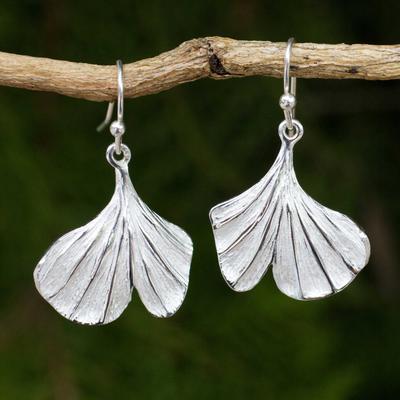 Sterling silver flower earrings, 'Pretty Ginkgo' - Leaf Shaped Sterling Silver Hook Earrings from Thailand