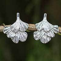 Sterling silver flower earrings, 'Ginkgo Inspired'