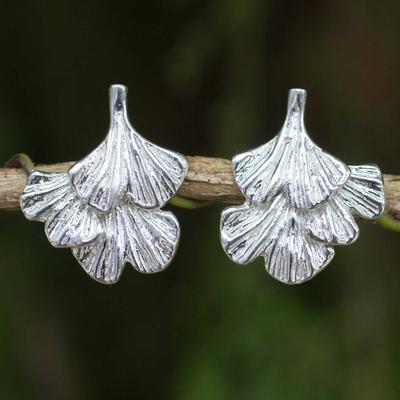 Sterling silver flower earrings, 'Ginkgo Inspired' - Sterling Silver Leaf Shaped Button Earrings from Thailand