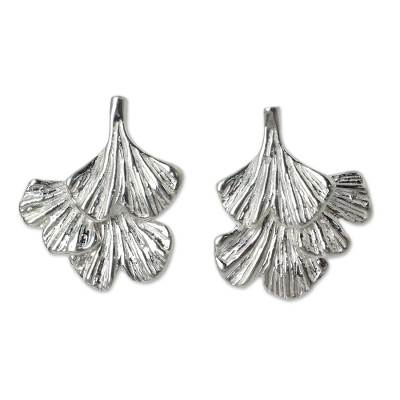 Sterling Silver Leaf Shaped Button Earrings from Thailand