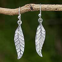 Sterling silver dangle earrings, 'Pomegranate Protection' - Sterling Silver Leaf Earrings Fair Trade Artisan Jewelry