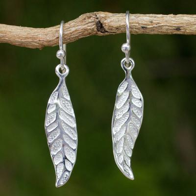 Sterling silver dangle earrings, 'Pomegranate Protection' - Sterling Silver Leaf Earrings Fair Trade Artisan Jewelry