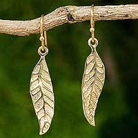 Gold plated dangle earrings, 'Pomegranate Protection' - Gold Plated Silver Leaf Earrings Fair Trade Artisan Jewelry