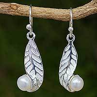 Cultured pearl dangle earrings, 'Splendid Beauty' - White Pearl on Sterling Silver Leaf Earrings from Thailand