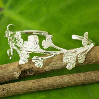 Sterling silver cuff bracelet, 'Pretty Ginkgo' - Leaf Shaped Sterling Silver Cuff Bracelet from Thailand
