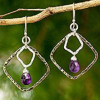 Gold plated amethyst dangle earrings, 'Dichotomy' - Gold Plated and Sterling Silver Earrings with Amethyst