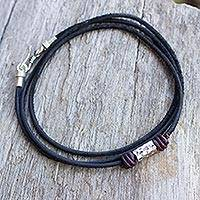 Men's leather bracelet, 'Bold Black' - Men's Black Leather Wrap Bracelet with Silver Detailing