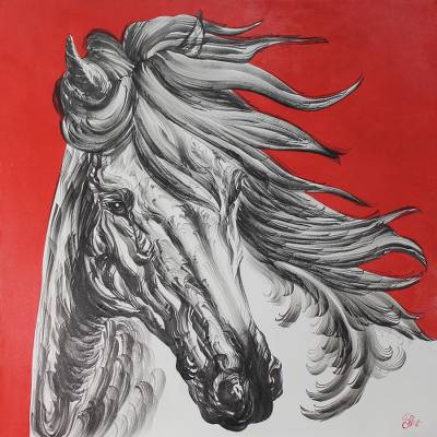'White Magic II' (2014) - Signed Thai Expressionist Horse Painting