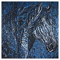 'Power in Motion' (2014) - Signed Original Horse Painting in Black and Blues