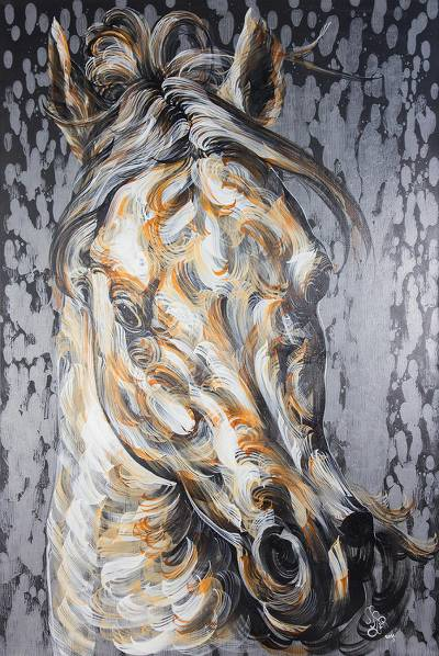 Original Palomino Horse Painting in Acrylic on Canvas
