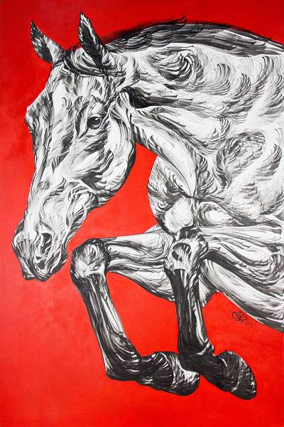 Black and White Horse Painting on Textured Red Canvas