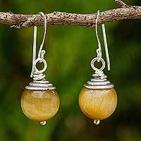 Tiger's eye dangle earrings, 'Sensation' - Thai Fair Trade Tiger's Eye Sterling Silver Hook Earrings