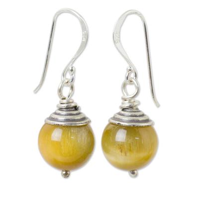 Tiger's eye dangle earrings, 'Sensation' - Thai Fair Trade Tiger's Eye Sterling Silver Hook Earrings