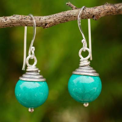 Calcite dangle earrings, 'Sensation' - Dyed Calcite and Sterling Silver Handcrafted Thai Earrings
