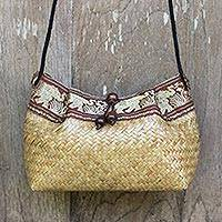 Cotton accent natural fiber shoulder bag, 'Hill Tribe Elephants' - Thai Hand Woven Cotton Accent Natural fibre Shoulder Bag