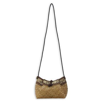 Cotton accent natural fiber shoulder bag, 'Hill Tribe Elephants' - Thai Hand Woven Cotton Accent Natural fibre Shoulder Bag