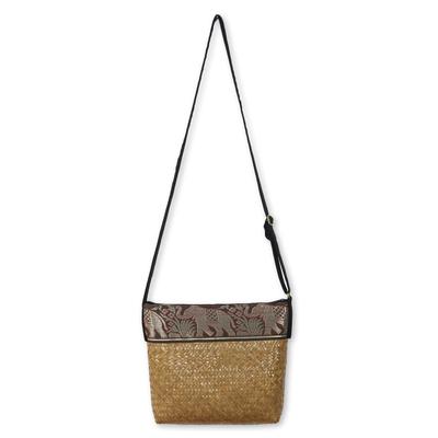Novica Cotton accent natural fiber shoulder bag, Brown Hill Tribe Elephants