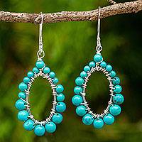 Calcite dangle earrings, 'Blue Green Aura' - Thai Handcrafted Green Calcite and Sterling Silver Earrings