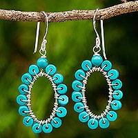 Calcite dangle earrings, 'Aqua Petals' - Calcite and Sterling Silver Earrings Handcrafted Earrings