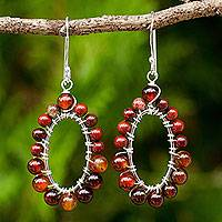 Carnelian and jasper dangle earrings, 'Bright Aura' - Artisan Made Carnelian and Jasper Sterling Silver Earrings